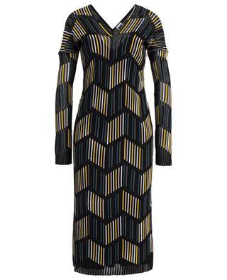 Striped openwork knit sheath dress M MISSONI