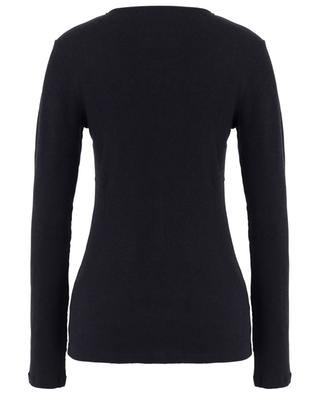 Ribbed long-sleeved T-shirt with slit collar MAJESTIC FILATURES