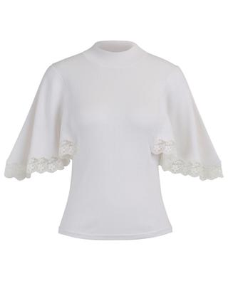 Guipure adorned knit top with flouncy sleeves SEE BY CHLOE