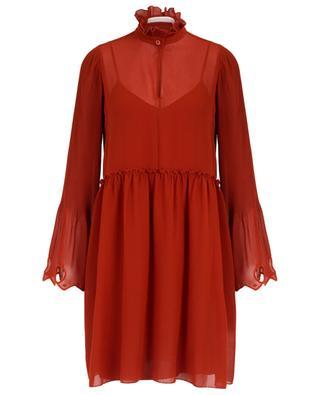 Kurzes Georgette-Kleid mit plissierten Ärmeln SEE BY CHLOE