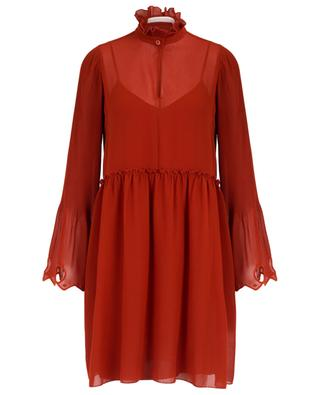 Short georgette dress with pleated sleeves SEE BY CHLOE