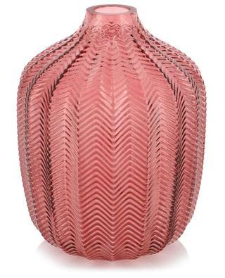 Vase aus kanneliertem Glas mit Zickzacklinien KERSTEN