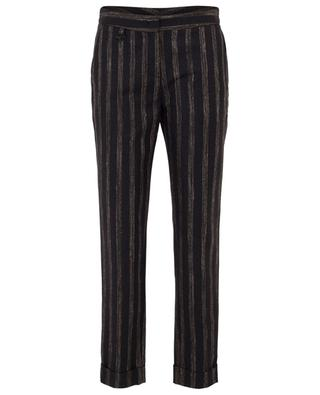 Virgin wool and linen striped tapered trousers LORENA ANTONIAZZI