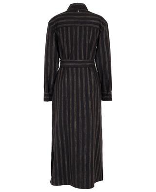 Robe chemise rayée en laine vierge et lin mélangés LORENA ANTONIAZZI