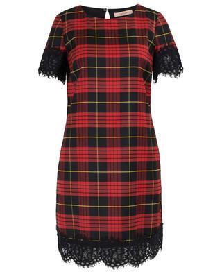 Short lace embellished tartan pattern dress TWINSET