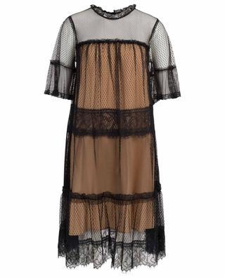 Robe trapèze bicolore en dentelle TWINSET