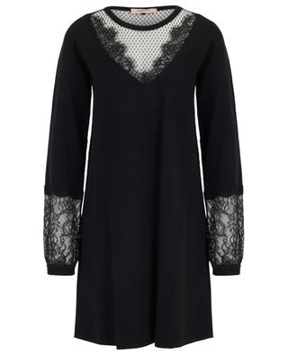 Jumper dress with puff sleeves and lace TWINSET
