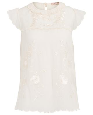 Sleeveless floral embroidered top TWINSET