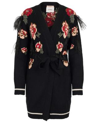 Floral print wool cardigan with feathers TWINSET