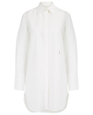 Long cotton shirt with textured stripes CHLOE