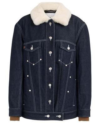 Veste en jean rembourrée oversize col peau lainée CHLOE