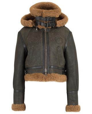 Aviator boyfriend leather and shearling jacket CHLOE