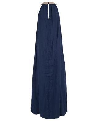 Ärmelloses Kleid aus Leinen mit Strass 120% LINO