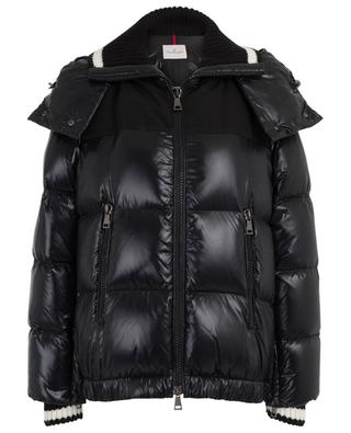 Woury shiny bi-material down jacket with knit collar MONCLER