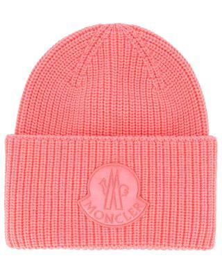 Velvet logo patch rib knit beanie MONCLER