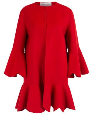 Wool and cashmere coat with scalloped ruffles VALENTINO
