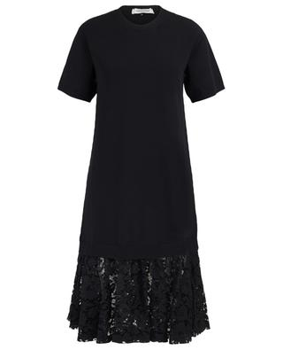 Knit dress with floral lace VALENTINO