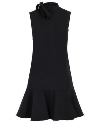 Wool mini dress with peplum and bow VALENTINO