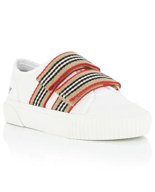 Ray leather sneakers with striped Velcro straps BURBERRY