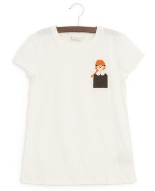 Kurzarm-T-Shirt mit Mädchen-Stickerei FENDI