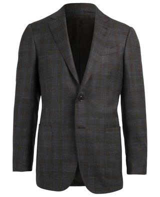 Checked wool, silk and linen blend blazer ERMENEGILDO ZEGNA