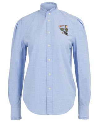 Slim fit shirt with ruffle collar and pins POLO RALPH LAUREN