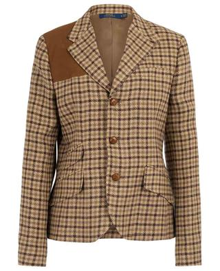 Gingham check blazer with suede details POLO RALPH LAUREN
