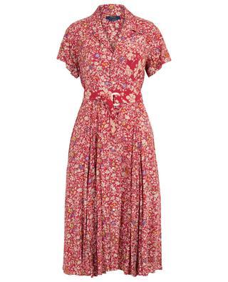 Flared flower printed shirt dress with belt POLO RALPH LAUREN