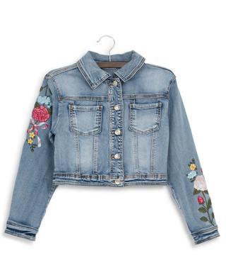 Veste courte en jean brodée de fleurs MONNALISA