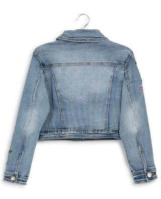 Short denim jacket with floral embroideries MONNALISA