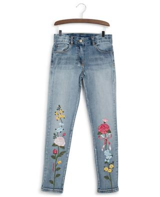 Flower embroidered stretch jeans MONNALISA