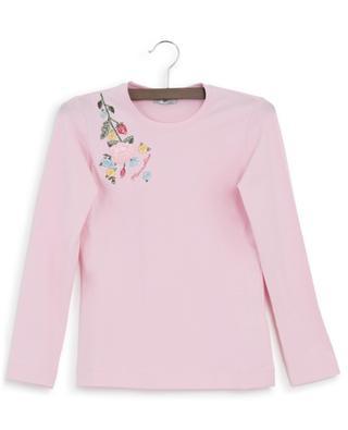 T-Shirt mit langen Ärmeln und Blütenstickereien MONNALISA