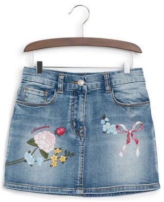 Minirock aus Denim mit Blütenstickereien MONNALISA