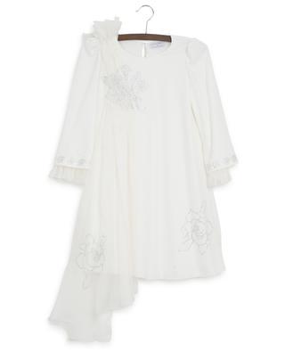 Vivien rose embellished breezy asymmetrical dress MONNALISA
