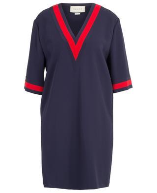 Straight viscose dress with Web ribbon GUCCI