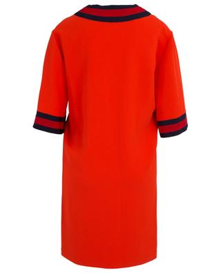Straight viscose dress with Web ribbon GUCCI