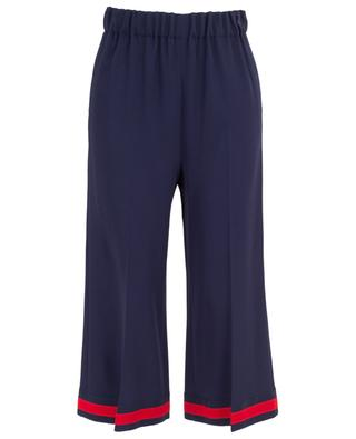 Viscose wide leg cropped trousers with Web ribbon GUCCI