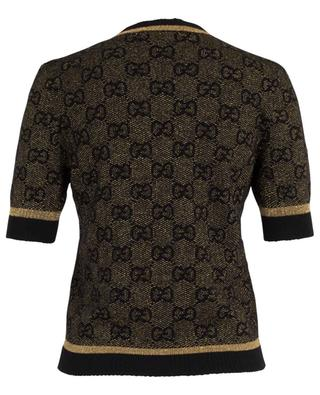 GG logo short-sleeved wool and lurex top GUCCI