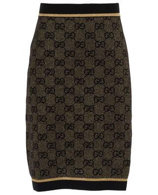 GG logo short wool and lurex skirt GUCCI