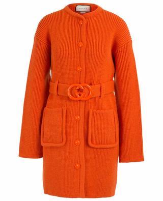 Manteau en maille avec ceinture GG GUCCI