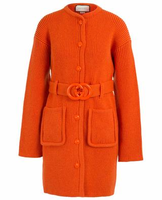 Knit coat with GG belt GUCCI