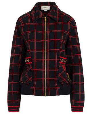 GG patch Horsebit checked knit bomber jacket GUCCI