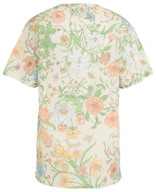 Geblümtes T-Shirt aus Baumwolle mit Gucci Tennis-Stickerei GUCCI