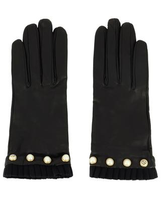 Leather gloves with pearls GUCCI
