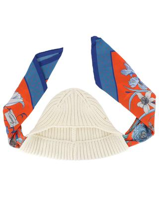 Mütze aus Kaschmir mit Tuch aus geblümter Seide GUCCI
