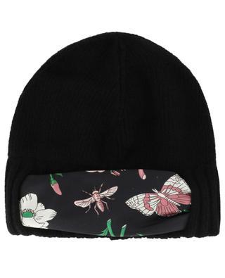Mütze aus Wolle mit Tuch aus geblümter Seide GUCCI