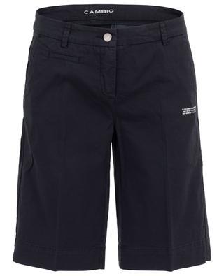 Slate gabardine slogan Bermuda shorts CAMBIO