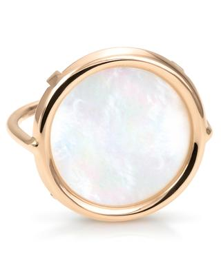 Bague en or rose Disc Ring Mother of Pearl GINETTE NY