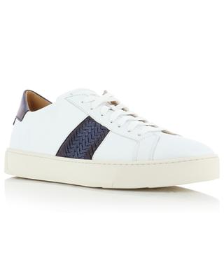 Low-top sneakers with braided leather detail SANTONI