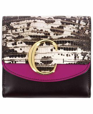 Chloé C Square compact wallet with lizard detail CHLOE